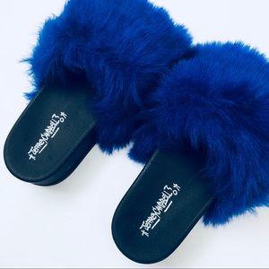 Jeffrey Campbell Faux Fur Blue Platform Slides